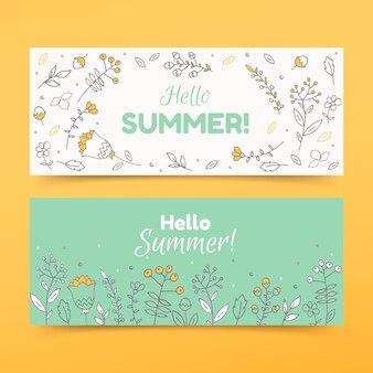Mão desenhada banners com flor de verão