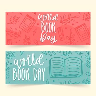 Mão desenhada banners de dia mundial do livro