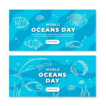 Mão desenhada banners de dia mundial dos oceanos