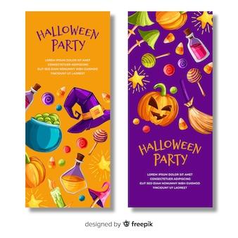 Mão desenhada banners de halloween