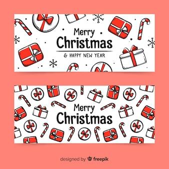 Mão desenhada banners de presente de natal