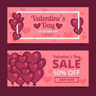 Mão desenhada banners de venda do dia dos namorados