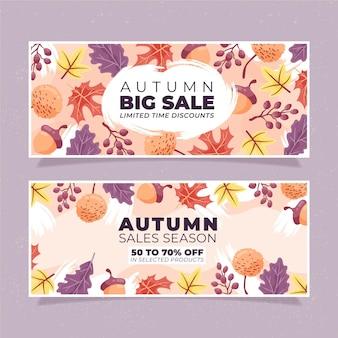 Mão desenhada banners de venda outono