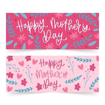 Mão desenhada banners do dia das mães