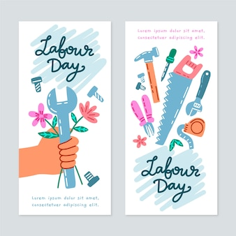 Mão desenhada banners do dia do trabalho