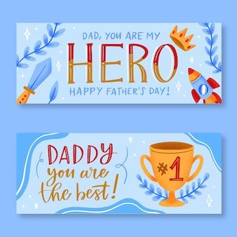 Mão desenhada banners do dia dos pais