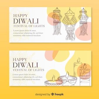 Mão desenhada banners web de diwali