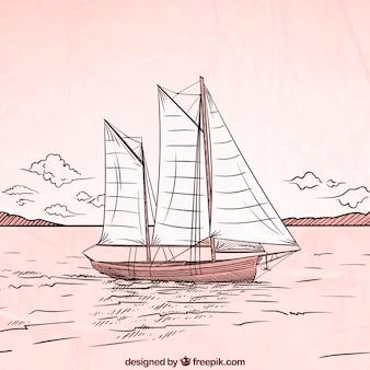 Mão desenhada barco fundo