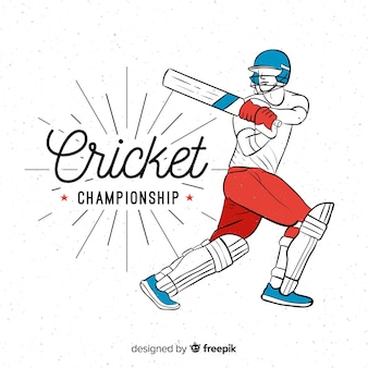 Mão desenhada batedor jogando críquete