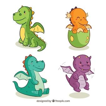 Mão desenhada bebê dragão personagem collectio