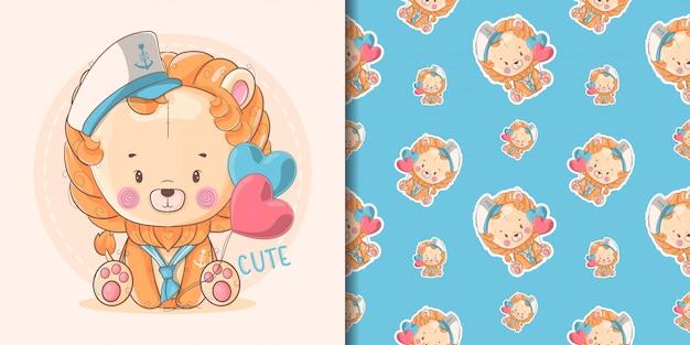 Mão desenhada bebê fofo leão com marinheiro personalizado e padrão
