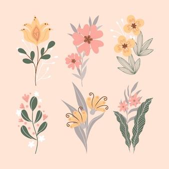 Mão desenhada bela coleção de flores de primavera