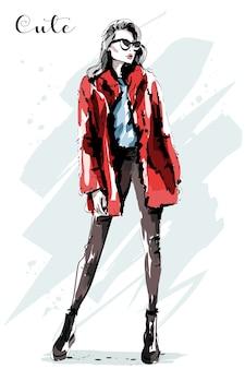 Mão desenhada bela jovem com casaco de pele