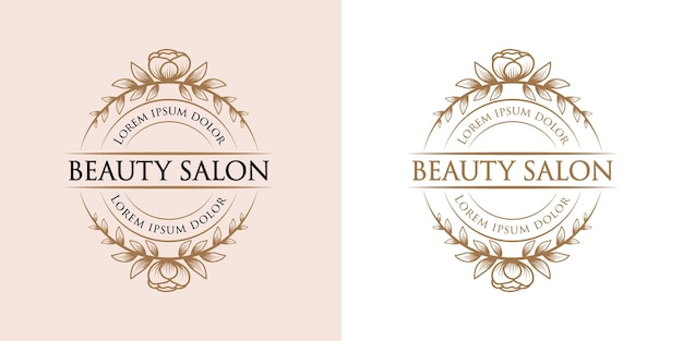 Mão desenhada beleza feminina e logotipo floral botânico para pele e cabelo de salão de spa