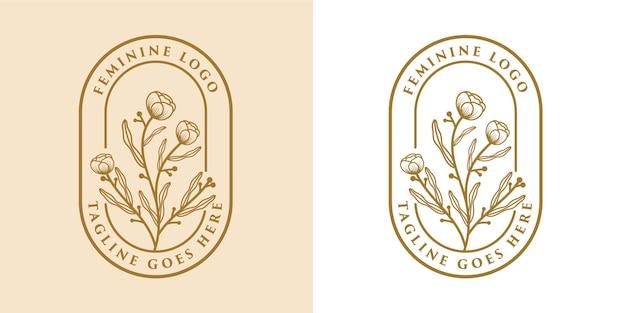 Mão desenhada beleza feminina e moldura de logotipo botânico floral para cuidados com a pele da pele do salão de spa
