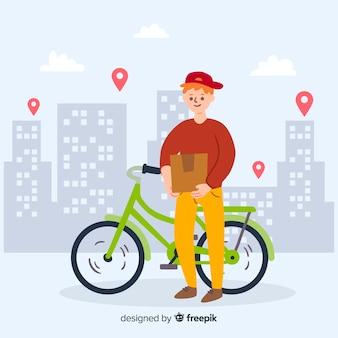 Mão desenhada bicicleta entrega conceito ilustração