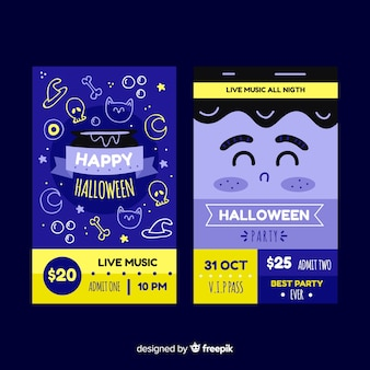 Mão desenhada bilhetes de halloween em tons de azuis