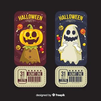 Mão desenhada bilhetes de halloween