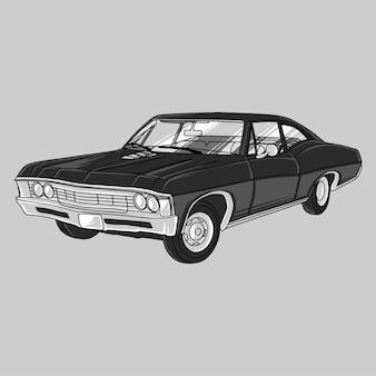 Mão desenhada black vintage muscle car