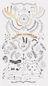 Mão desenhada boho doodle elemento coleção de vetores