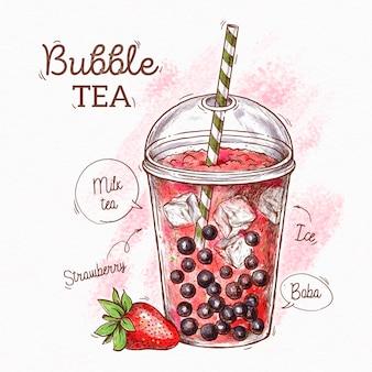 Mão desenhada bolha de chá com morango