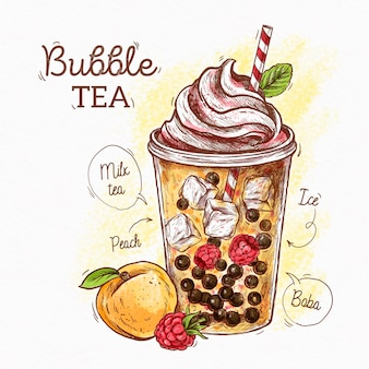 Mão desenhada bolha de chá com pêssego