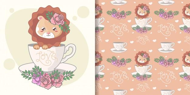 Mão desenhada bonito leão sem costura padrão e cartão de ilustração