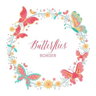 Mão desenhada borboletas, insetos, flores e plantas fronteira de grinalda