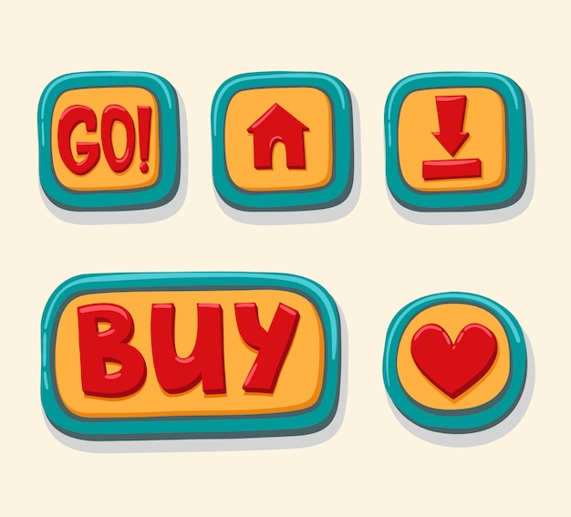 Mão desenhada botões web 3d para loja online.