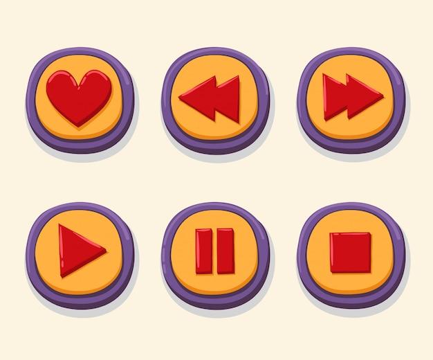 Mão desenhada botões web 3d para o leitor de música.