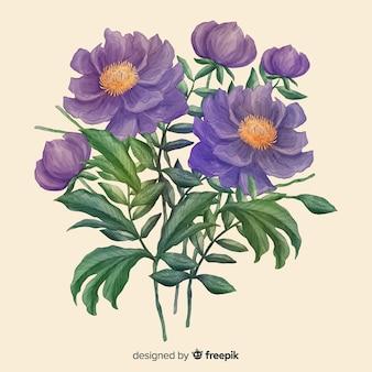 Mão desenhada bouquet floral realista