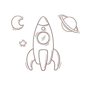 Mão desenhada brinquedo foguete vermelho e azul com uma meia lua, estrela e planeta em estilo doodle.