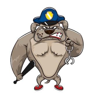 Mão desenhada bulldog cartoon usando boné da polícia, carregando algemas e taco pronto para pegar um criminoso