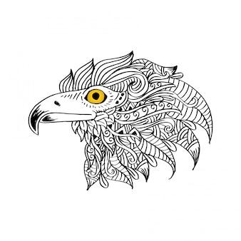 Mão desenhada cabeça de águia. mão de desenho de ilustração.