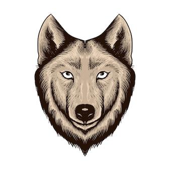 Mão desenhada cabeça de lobo isolada