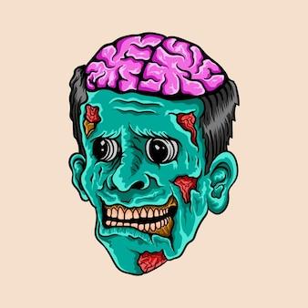 Mão desenhada cabeça zumbi cérebro ilustração de halloween