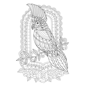 Mão desenhada cacatua e espelho