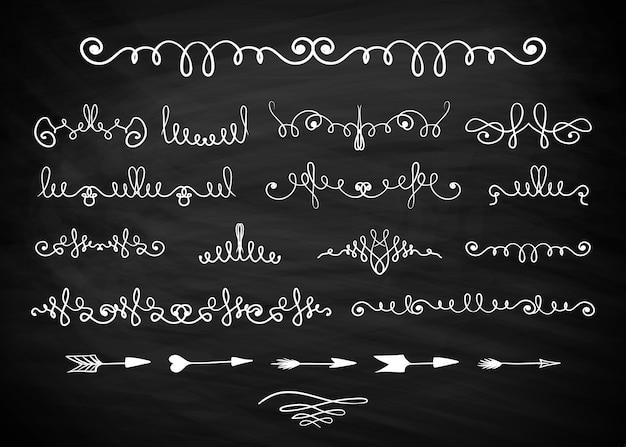 Mão desenhada cachos decorativos e redemoinhos, separadores de setas ou divisores