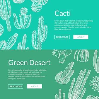 Mão desenhada cactos selvagens plantas web banner modelos