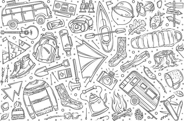Mão desenhada caminhadas e camping conjunto doodle
