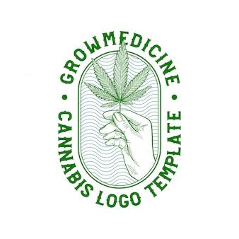 Mão desenhada cannabis badge