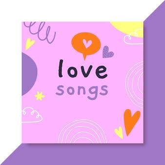 Mão desenhada capa colorida de cd de amor