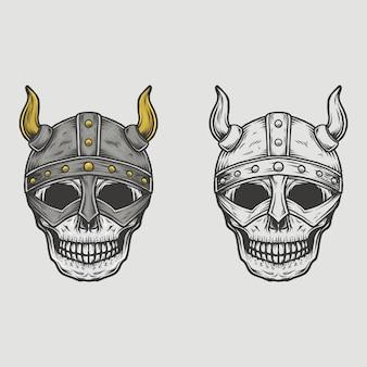 Mão desenhada capacete de viking de caveira vintage