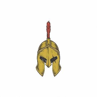 Mão desenhada capacete espartano vintage
