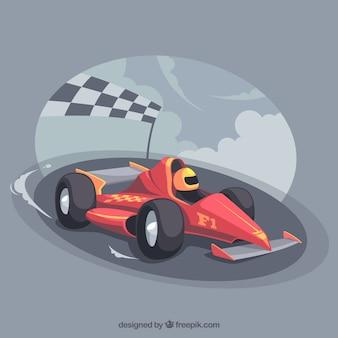 Mão desenhada carro de corrida de fórmula 1