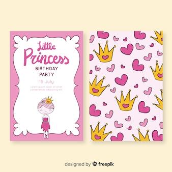 Mão desenhada cartão de aniversário estilo princesa Vetor Premium