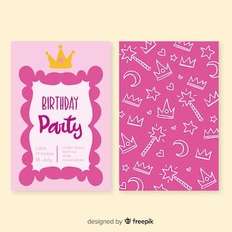 Mão desenhada cartão de aniversário estilo princesa