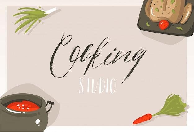 Mão desenhada cartão de cartaz de ilustrações de conceito de aula de culinária moderna abstrata dos desenhos animados com alimentos, legumes e caligrafia manuscrita estúdio de culinária em fundo cinza