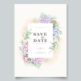 Mão desenhada cartão de convite floral em aquarela