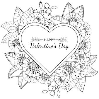 Mão desenhada cartão de dia dos namorados com flor mehndi. delinear a ilustração de desenho de mão.